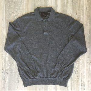 Black Brown 100% Merino Wool Collared Henley